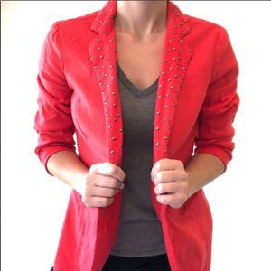 Rock and Republic silver studded red blazer size 8